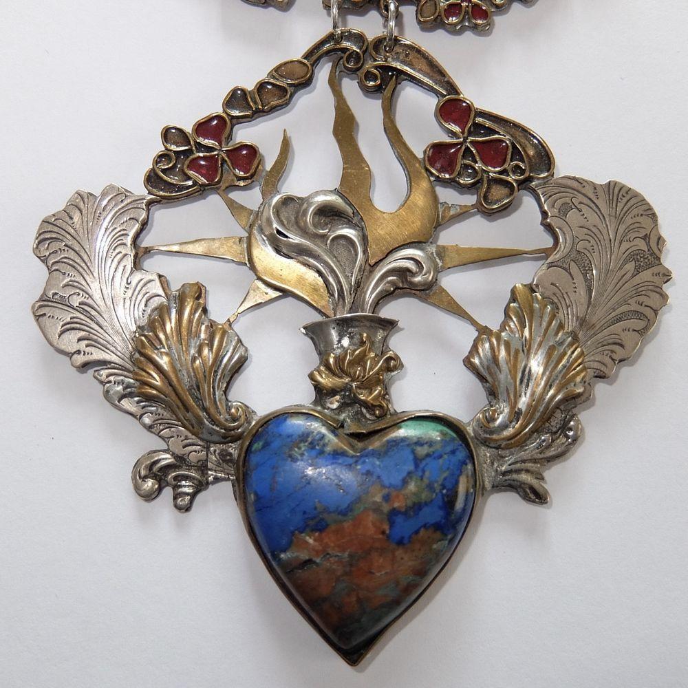 VTG VEGA MADDUX SILVERED BRASS ENAMEL CHRYSOCOLLA JADE WINGED HEART NECKLACE #VegaMadduxunsigned