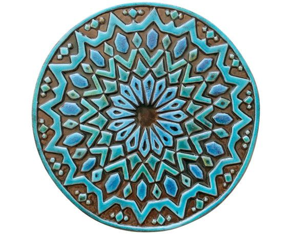 Decorative Tiles Ceramic Tiles Wall Tiles Bathroom Tiles Moroccan Tiles Circle Art Moroccan 2 30cm Turquoise Art Mur Art De Cercle Et Carreaux Decoratifs