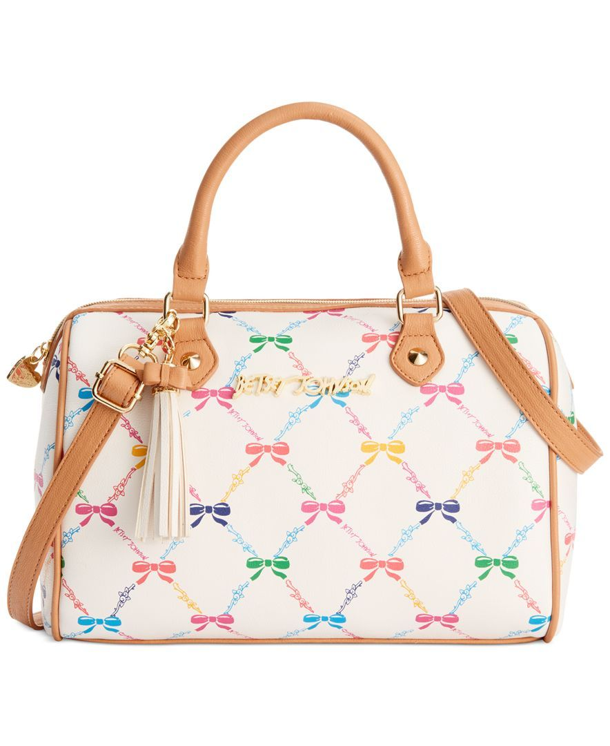 Betsey Johnson Let Us Lattice Bow Print Satchel