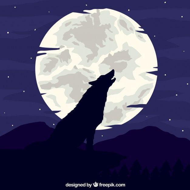 月の背景で狼を吠えさせる 無料ベクター 動物 シルエット オオカミ ベクター