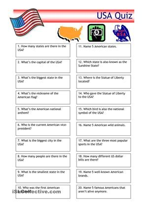 Quiz - USA Trivia   English for teaching   Pinterest