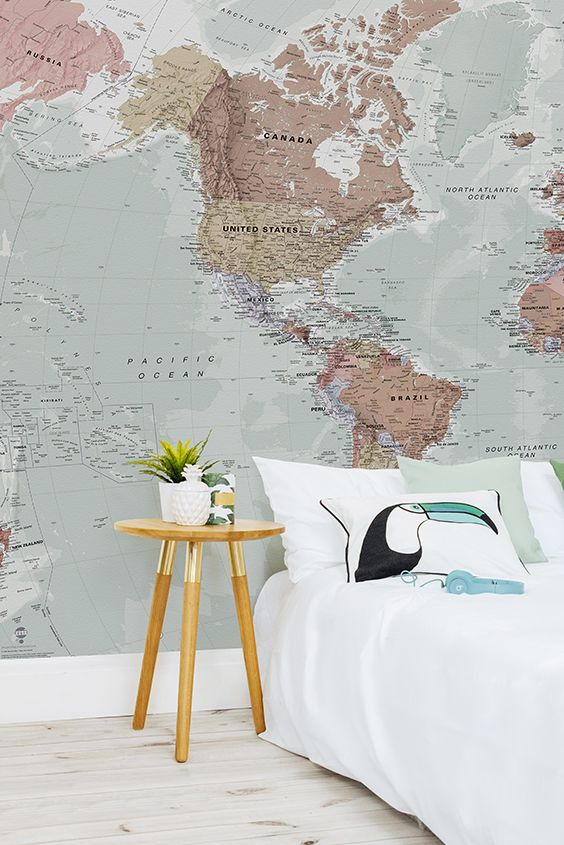 Classic world map wallpaper stylish map mural muralswallpaper this wonderful map wallpaper encompasses beautiful muted tones making it incredibly versatile for any room in your home gumiabroncs Images