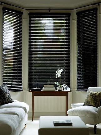 Black Gloss Wooden Venetian Blinds Venetian Blinds Living Room