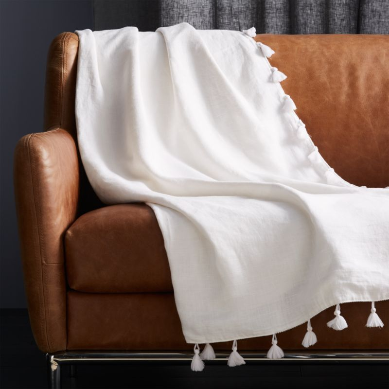 Linen White Throw With Tassels Cb2 White Throw Blanket Decorative Throws Blanket White Throws