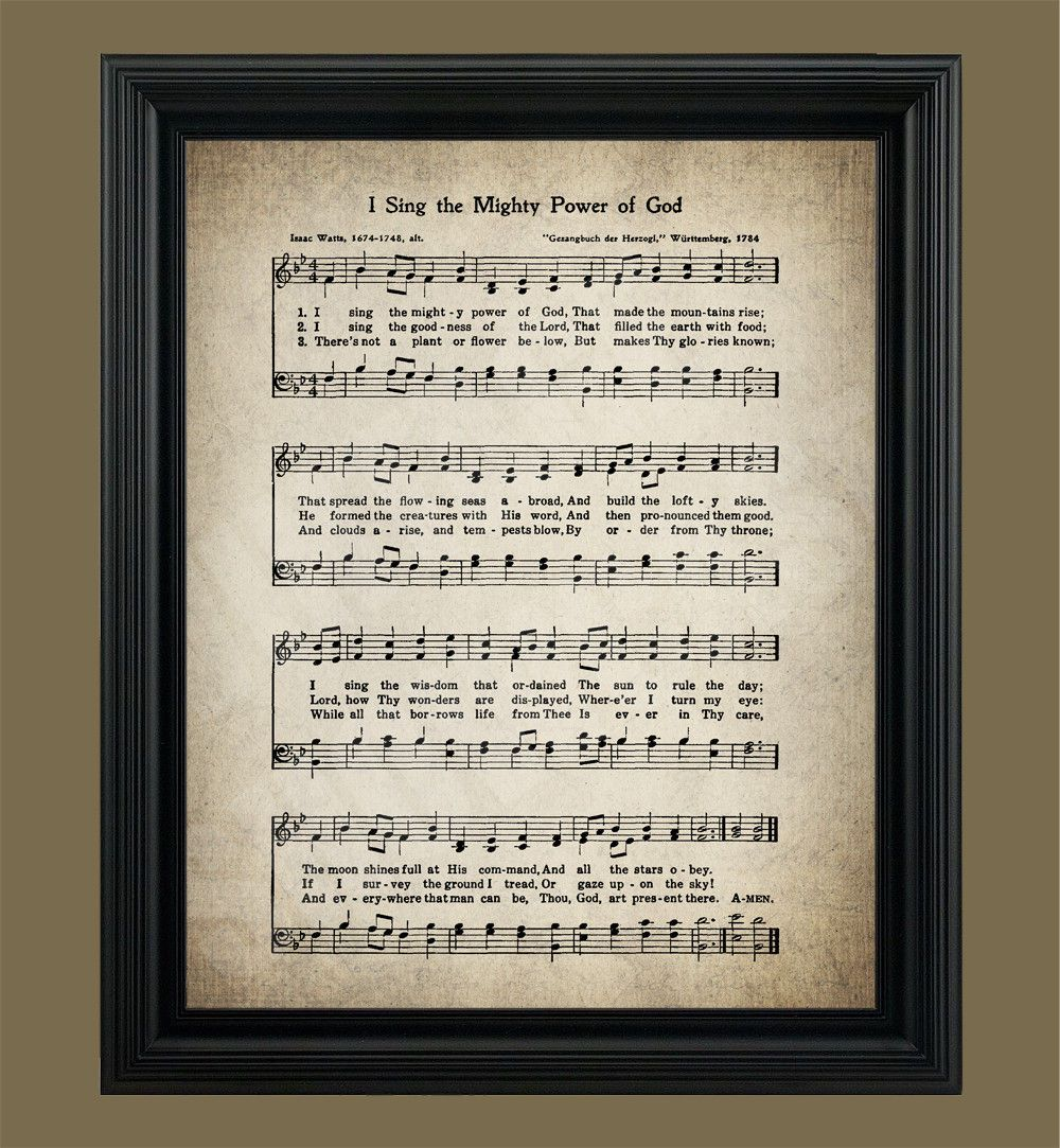 I Sing the Mighty Power of God Hymn Print Sheet Music