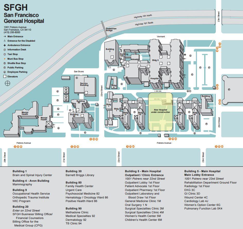 San Francisco General Hospital Medical Center Map