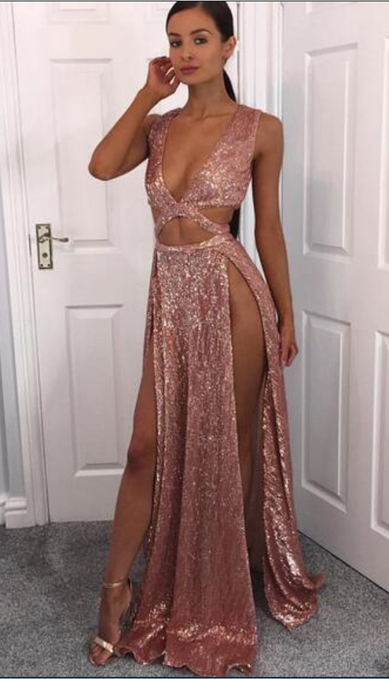 Sexy Deep V-neck Rose Gold Prom Dresses Deep V-neck Thigh Split Long  Evening Gowns Cheap Formal Party Wear d089aa17cbd1