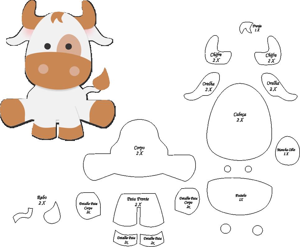 Molde de Vaca para EVA - Feltro e Artesanato | Fieltro | Pinterest