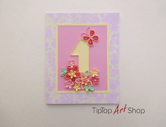 Homemade quilled 1st birthday card invitation for a baby girl homemade quilled 1st birthday card for baby girl by tiptopartshop stopboris Choice Image