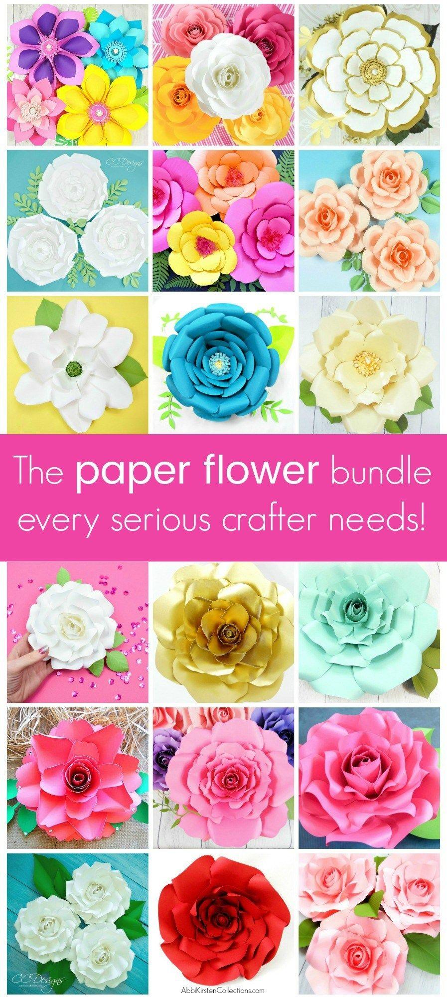 Paper Flower Templates Free Printable PDF Template u SVG Cut Files