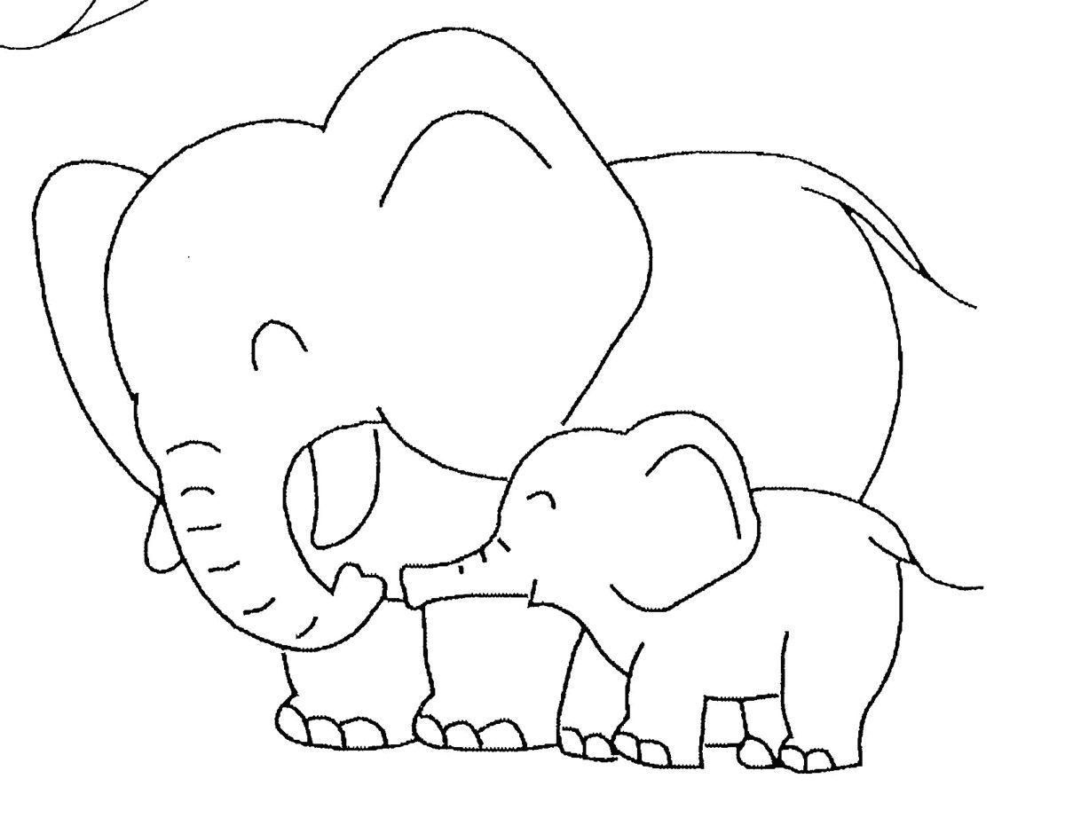 Baby Elephant Colouring Page Free Coloring Download Best Pages For Kids