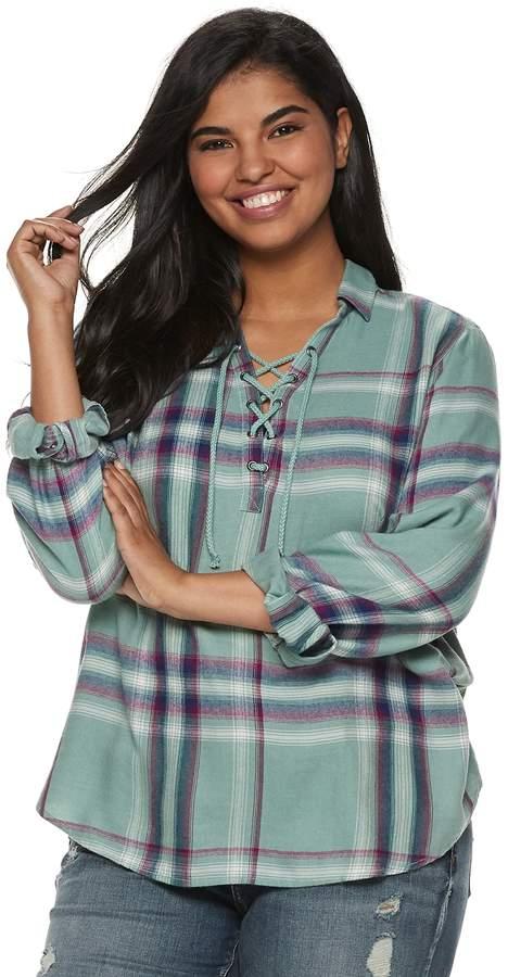 4f4f1f6ca229d Juniors  Plus Size Mudd® Plaid Lace-Up Flannel Shirt in 2018 ...