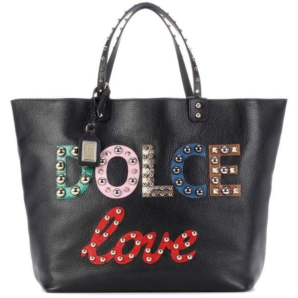 Dolce   Gabbana Beatrice Embellished Leather Shopper ( 2,700) ❤ liked on  Polyvore featuring bags, handbags, tote bags, black, shopping bag, ... 105cfad5d6