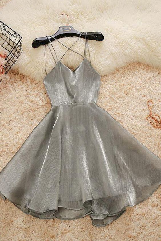 Short Spaghetti Straps Simple Silver Homecoming Dress Grey skirts evening dress