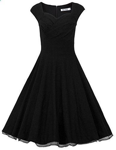 MUXXN Women 1950s Vintage Retro Capshoulder Party Swing Dress  Go to the website to read more description.
