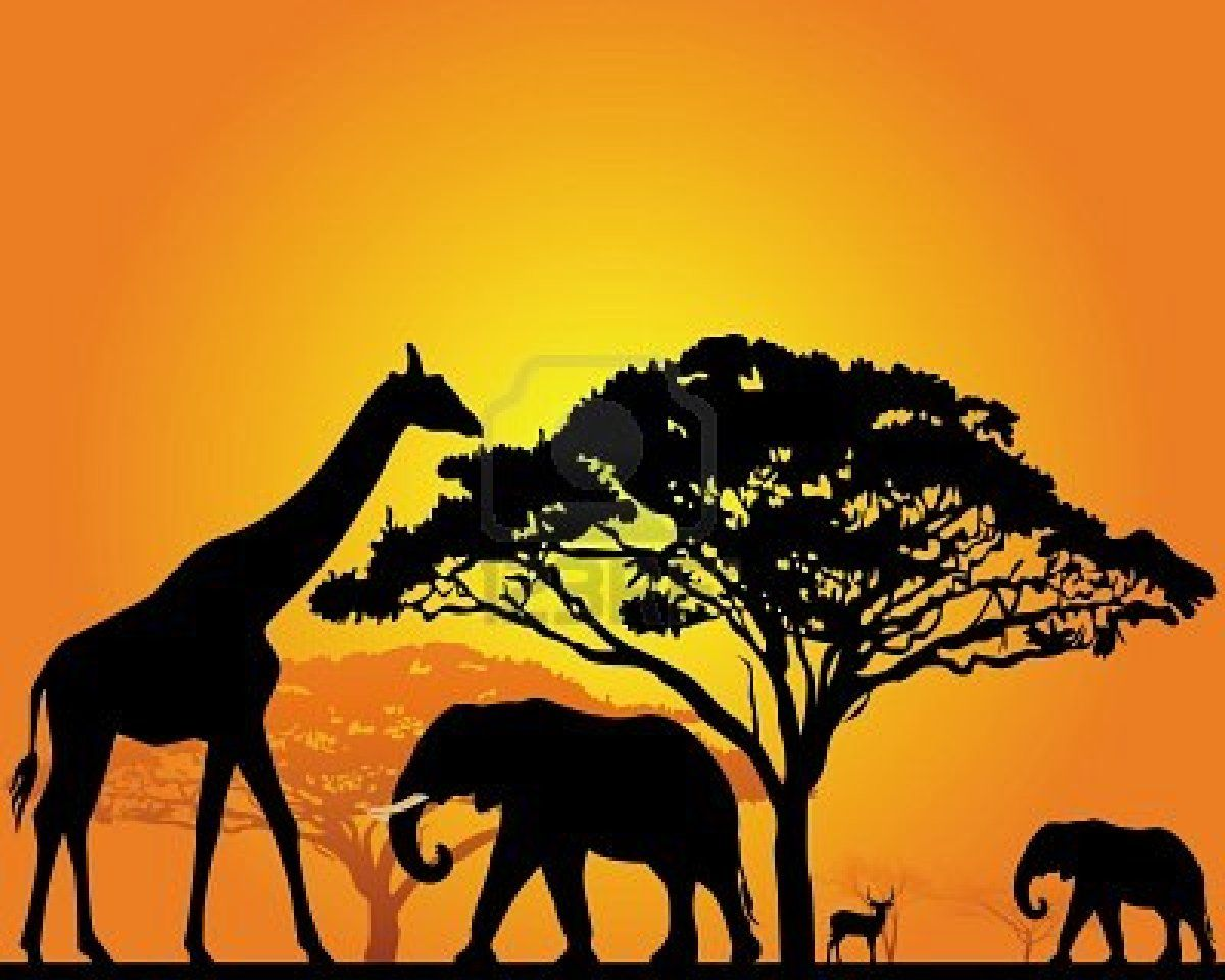 black silhouettes of African animals in the savannah on an