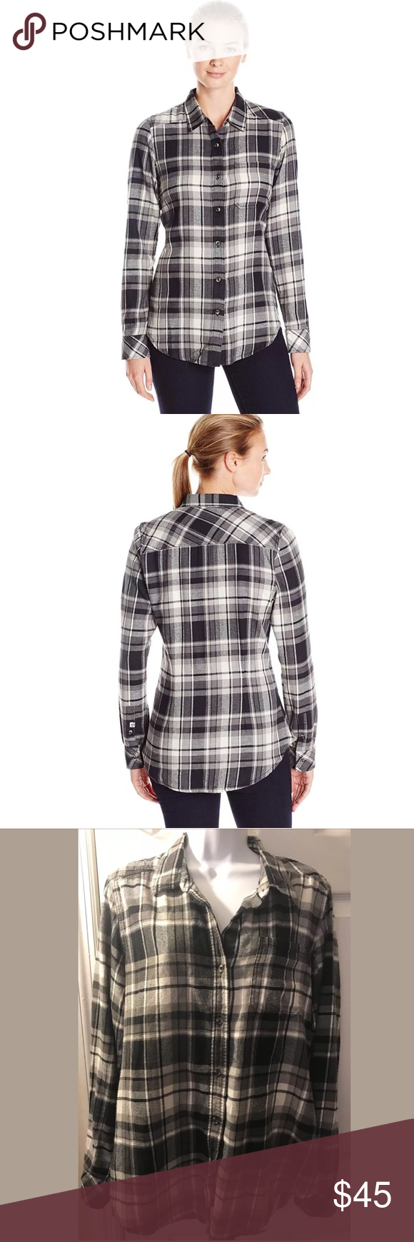 Flannel shirt black  KAVU Flannel Shirt Black White Plaid Button Down  My Posh Closet