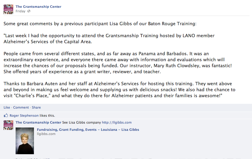 Great quote from a previous participant in our Baton Rouge
