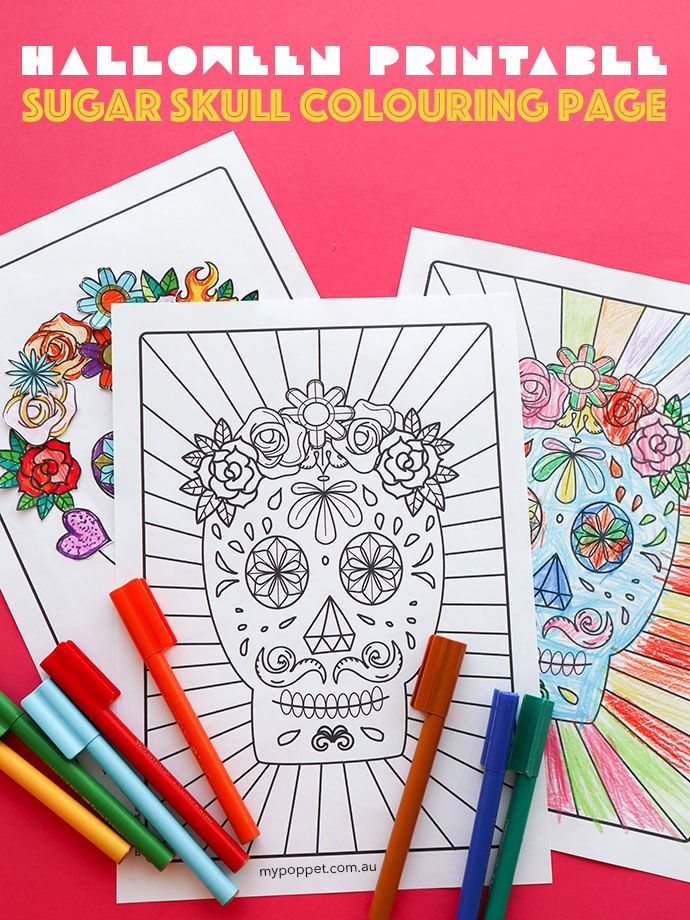 Free Halloween Printable: Day of the Dead Sugar Skull Colouring Page ...