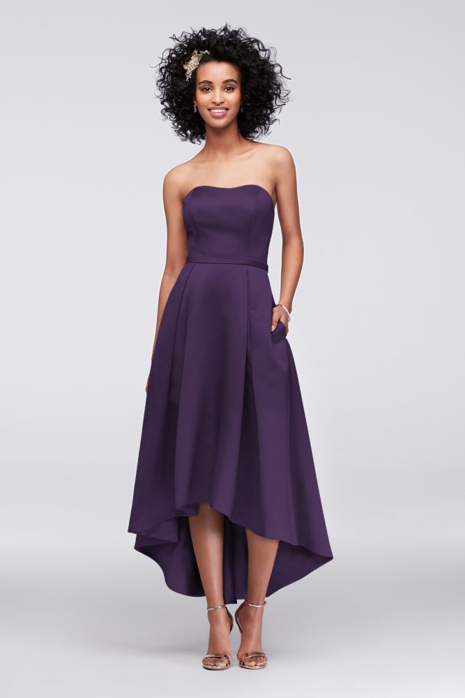 High-Low Satin Bridesmaid Dress with Pockets Style F19623 | Products ...