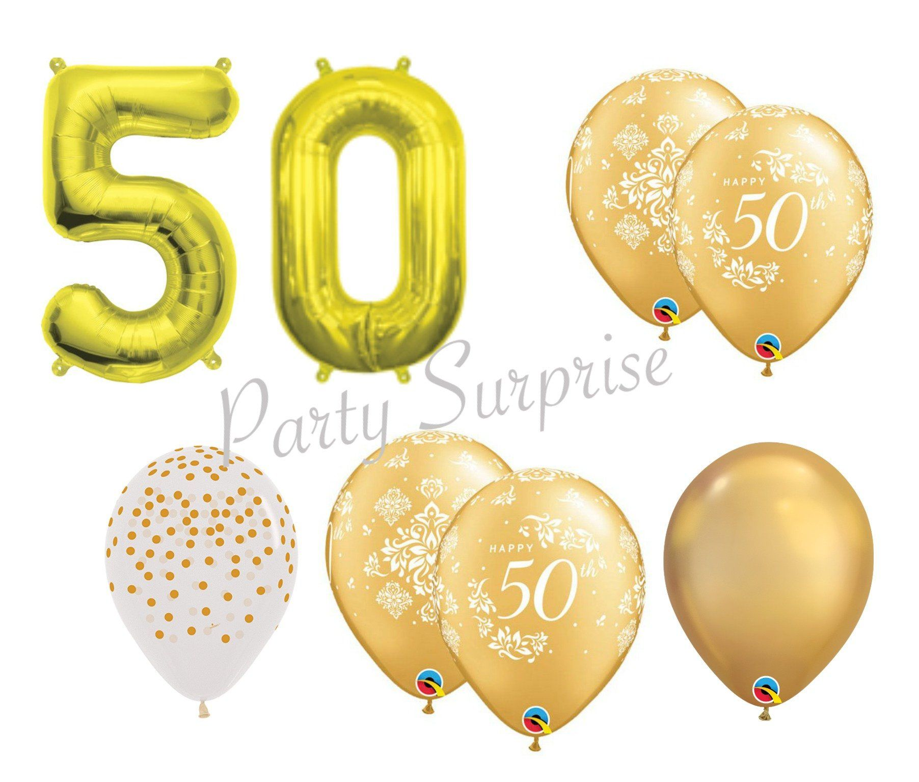 50th Anniversary Balloon Package Gold Balloons Birthday Party Decor
