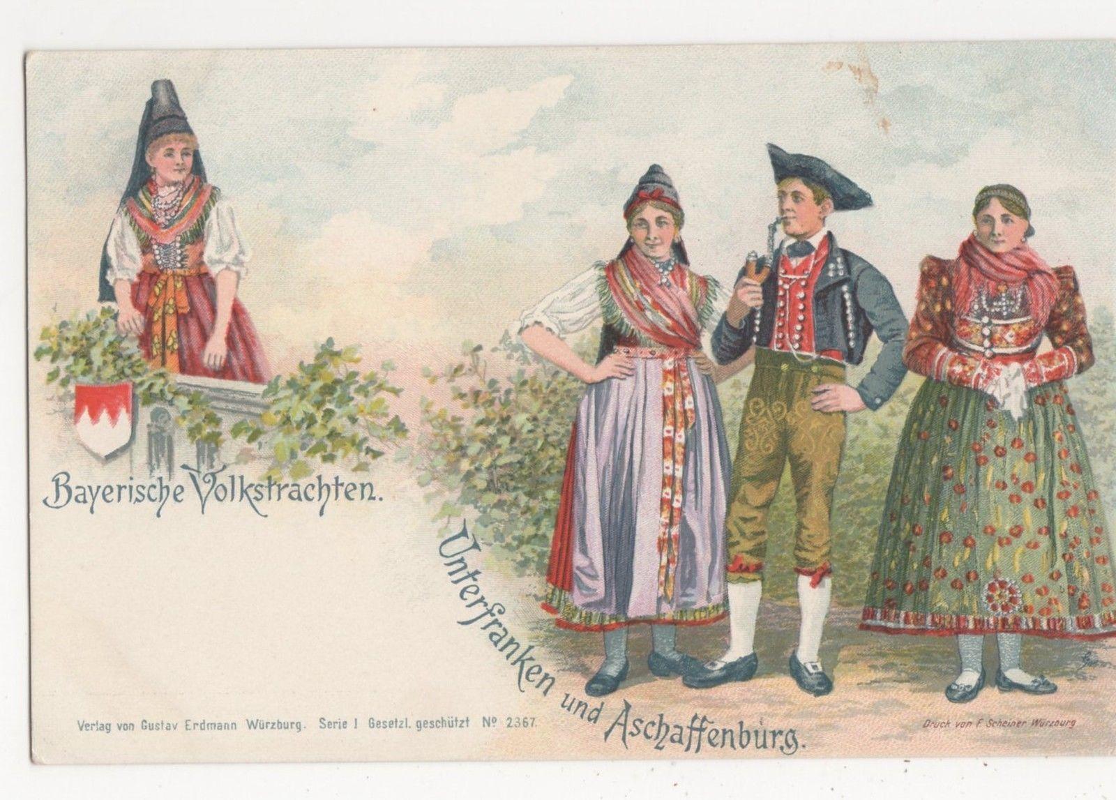Germany Bayerische Volkstrachten Unterfranken u Aschaffenburg Postcard B016  eBay  Dirndls