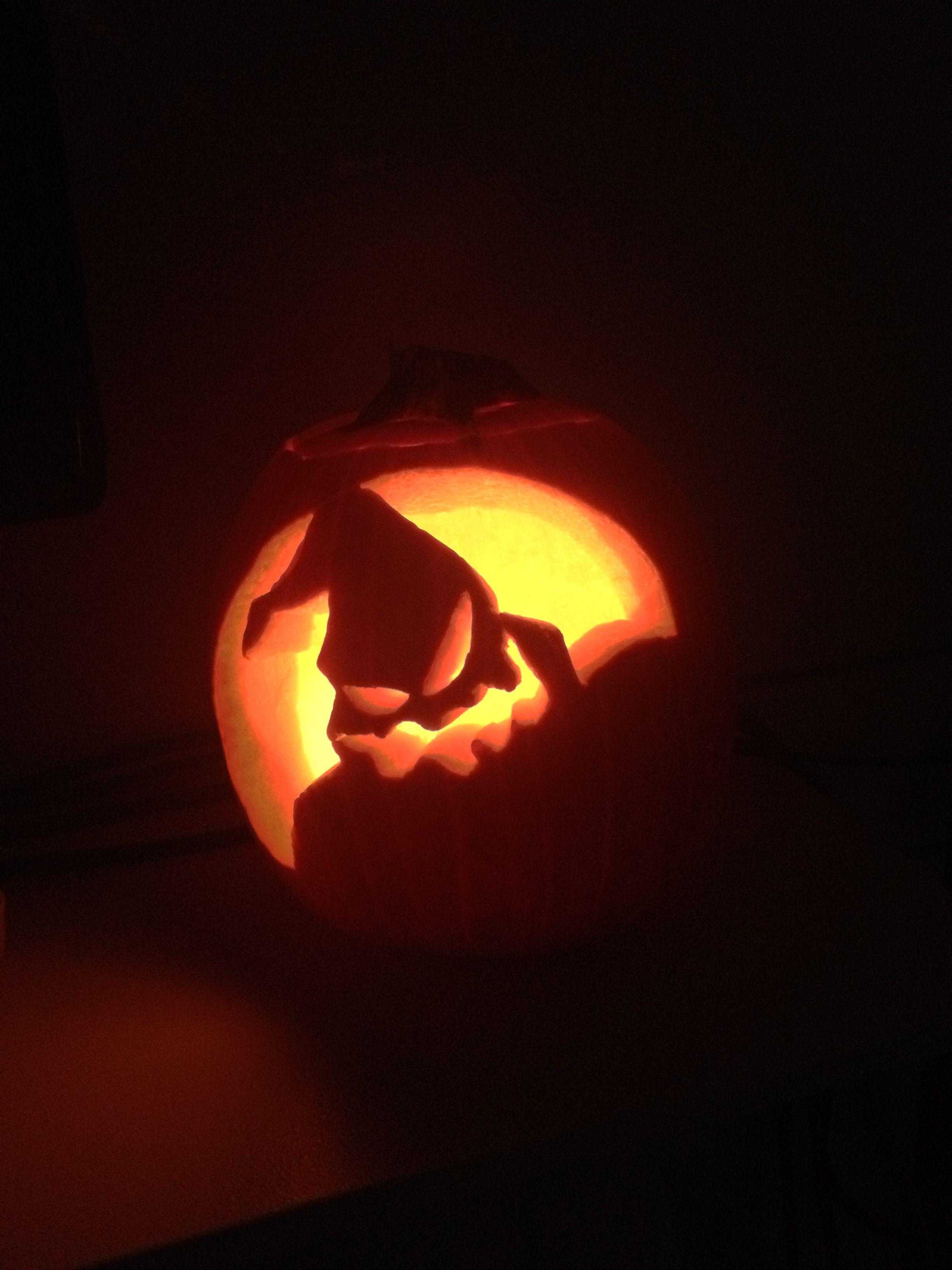 My first ever carved pumpkin free hand no stencils mr