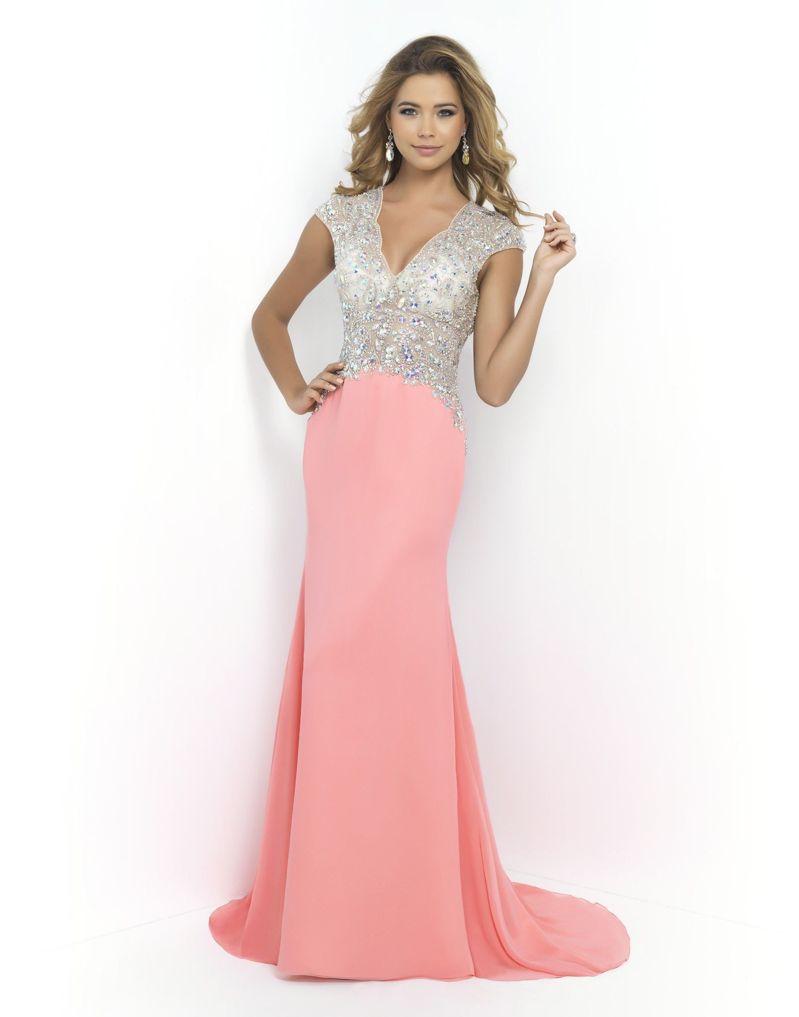 BLUSH PROM 9928 CORAL PINK Beautifully beaded nude illusion bodice ...