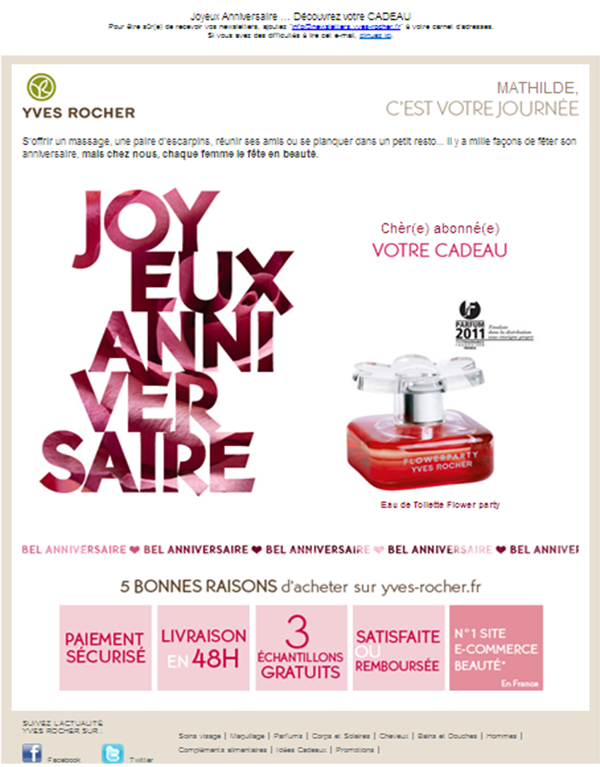 Yves Rocher Emails Anniversaire Anniversaire Emailing