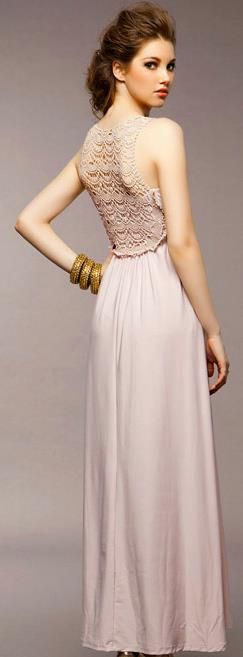 long blush pink dress with lace back detail  from Zeclud.com