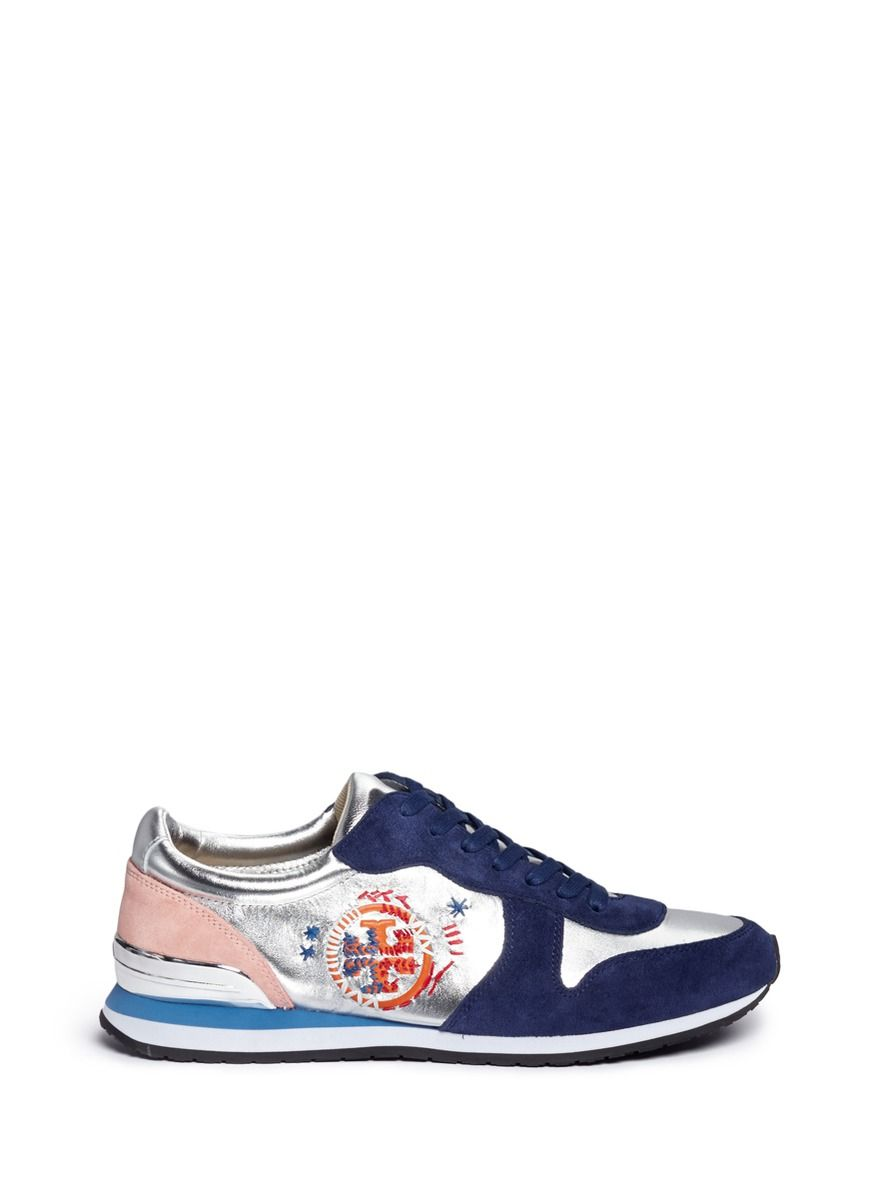 15ce5b55190 TORY BURCH  Brielle  Ethnic Logo Stitched Metallic Leather Sneakers.   toryburch  shoes  sneakers