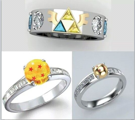 Dragon Ball and Legend of Zelda wedding rings Geek Out Oo