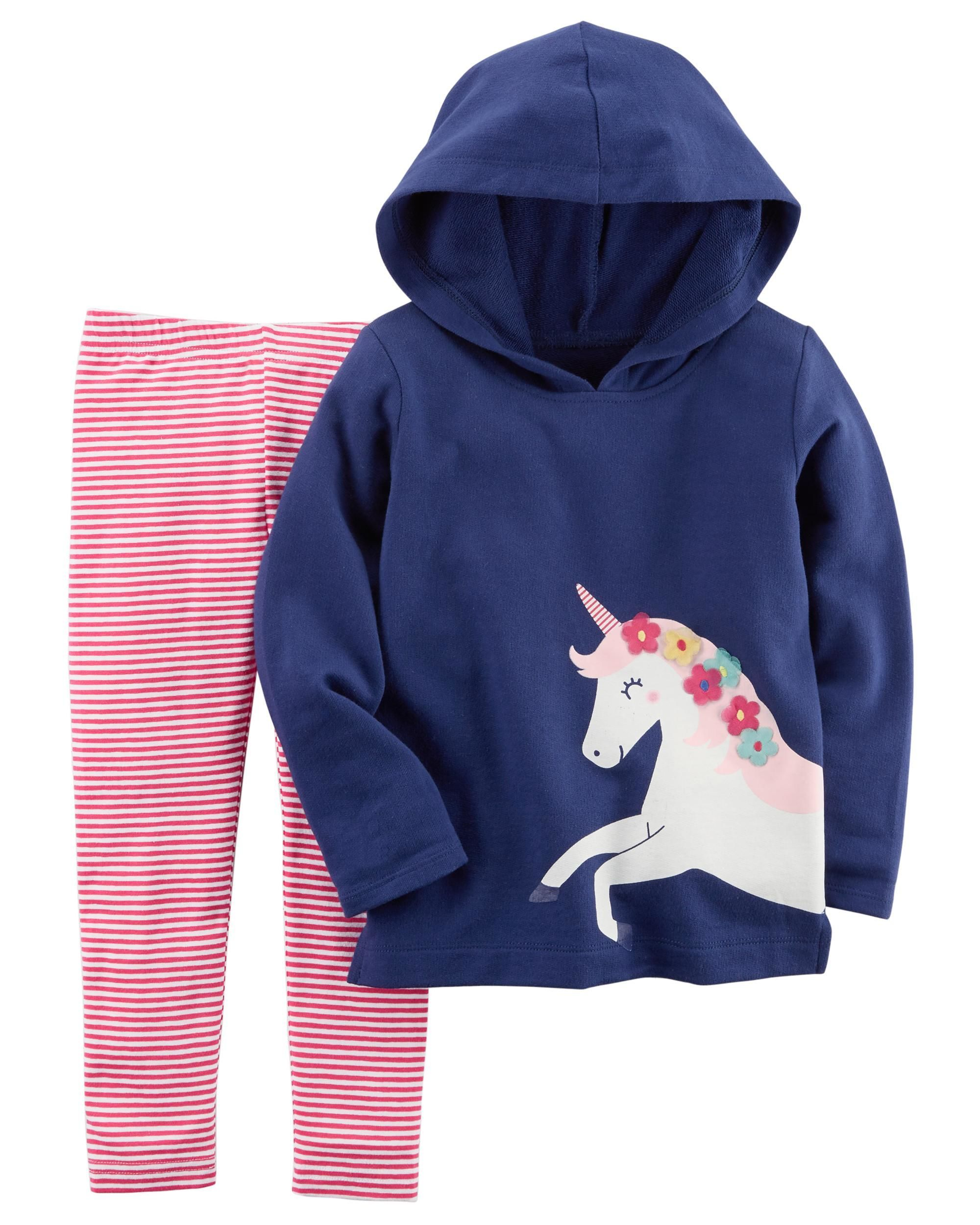 f2f60d20e Baby Girl 2-Piece French Terry Hoodie & Striped Legging Set | Carters.com