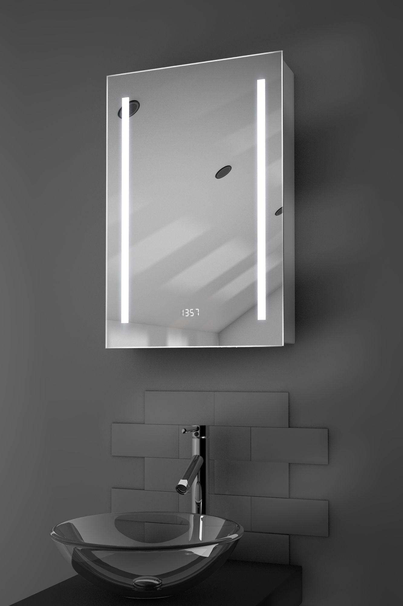 Calais Clock Led Bathroom Cabinet With Demister Pad Sensor U0026