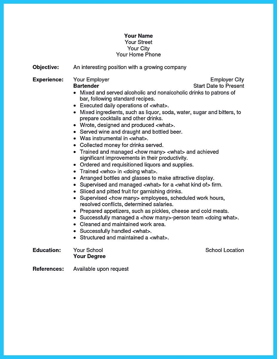 Bartender Resume Examples Your Awesome Bartending Resume How Write Simple Steps Free