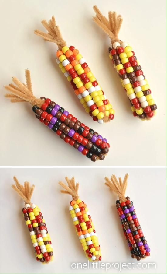 Beaded Pipe Cleaner Indian Corn -   17 diy thanksgiving crafts for toddlers ideas