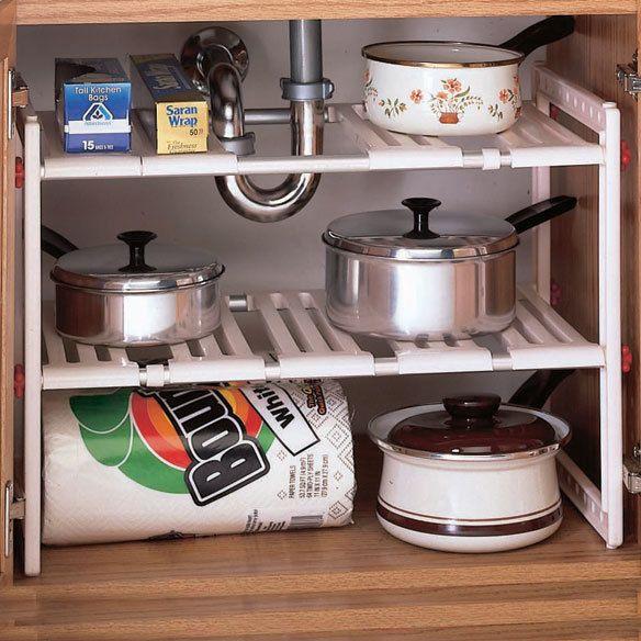 Adjustable Under The Sink Cabinet Shelf Kitchen Bathroom Pots Pan Organizer  Rack #na