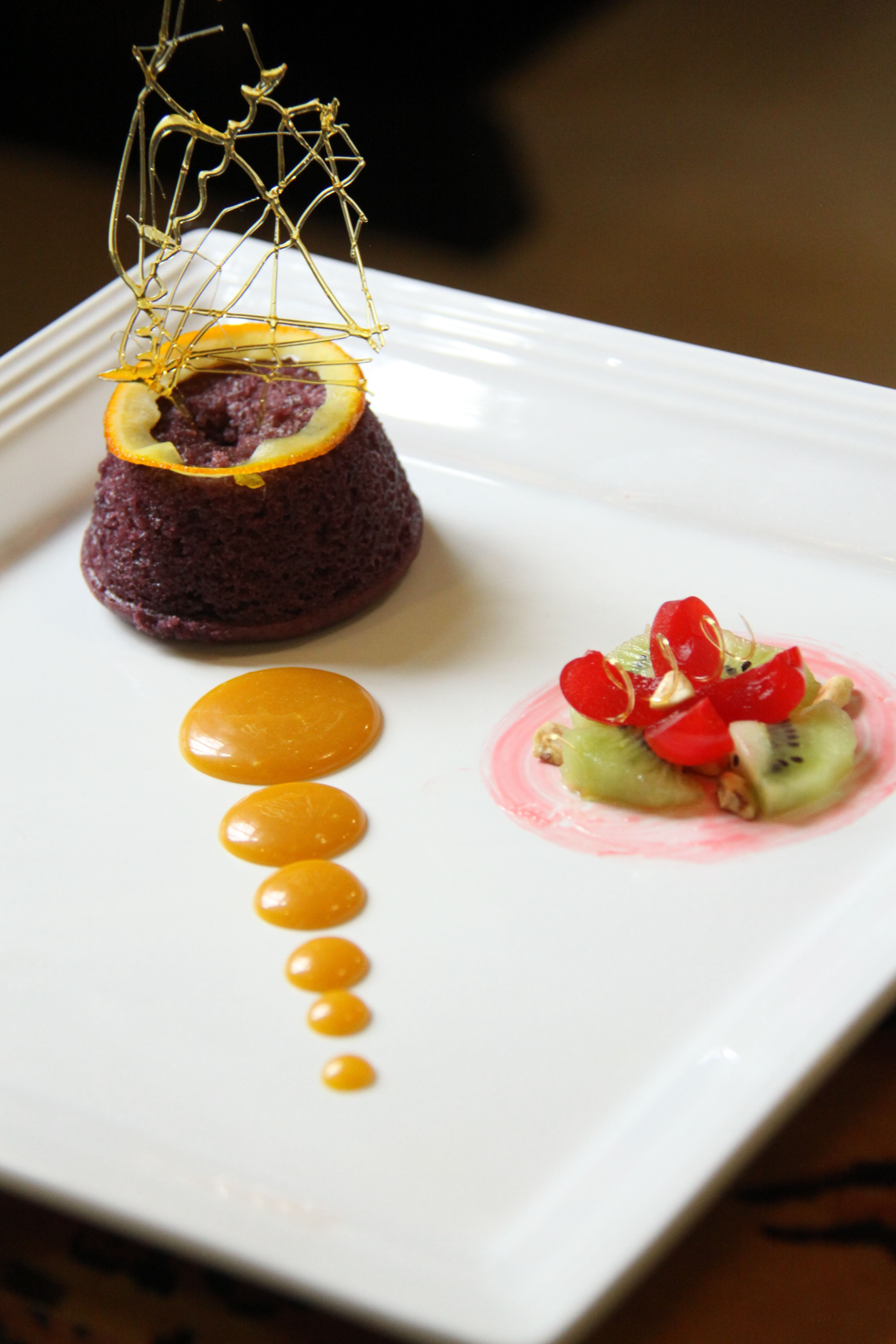 Platted Desserts Ube Steam Pudding With Caramel Sauce And