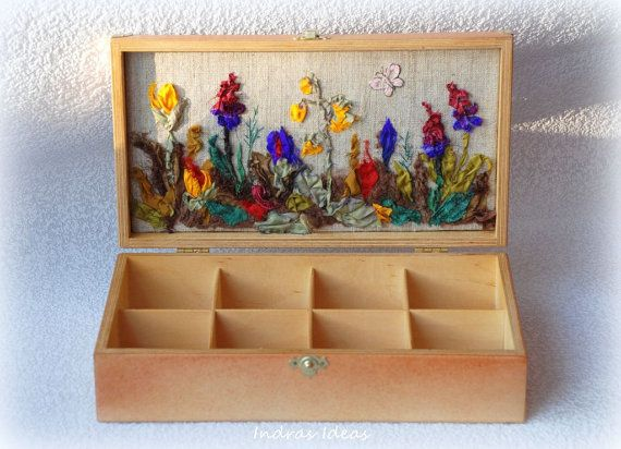 Wooden tea box with flower meadow embroidery by Indrasideas