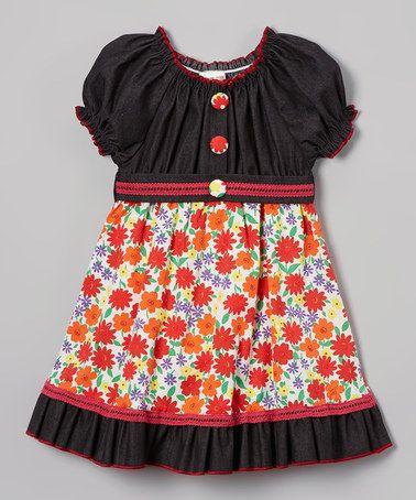 Look what I found on #zulily! Denim & Orange Floral Peasant Dress - Toddler & Girls #zulilyfinds