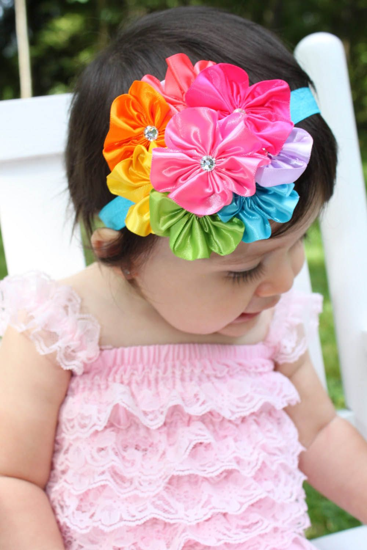 Wholesale Supplies 4 Cluster Flower Headbands Yoyo Flower
