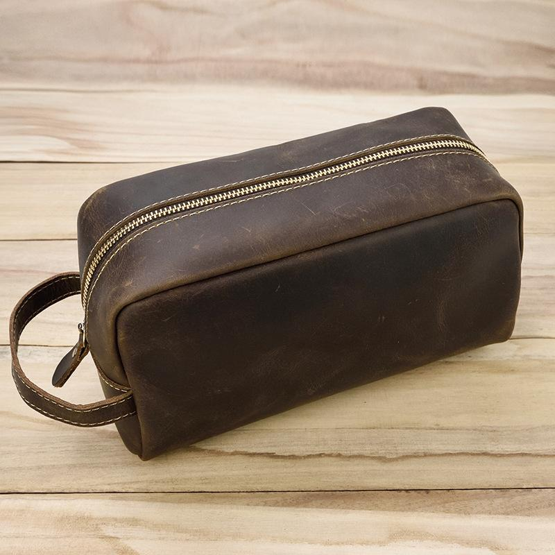 Leather Toiletry Bag, Handmade Leather Dopp Kit, Mens
