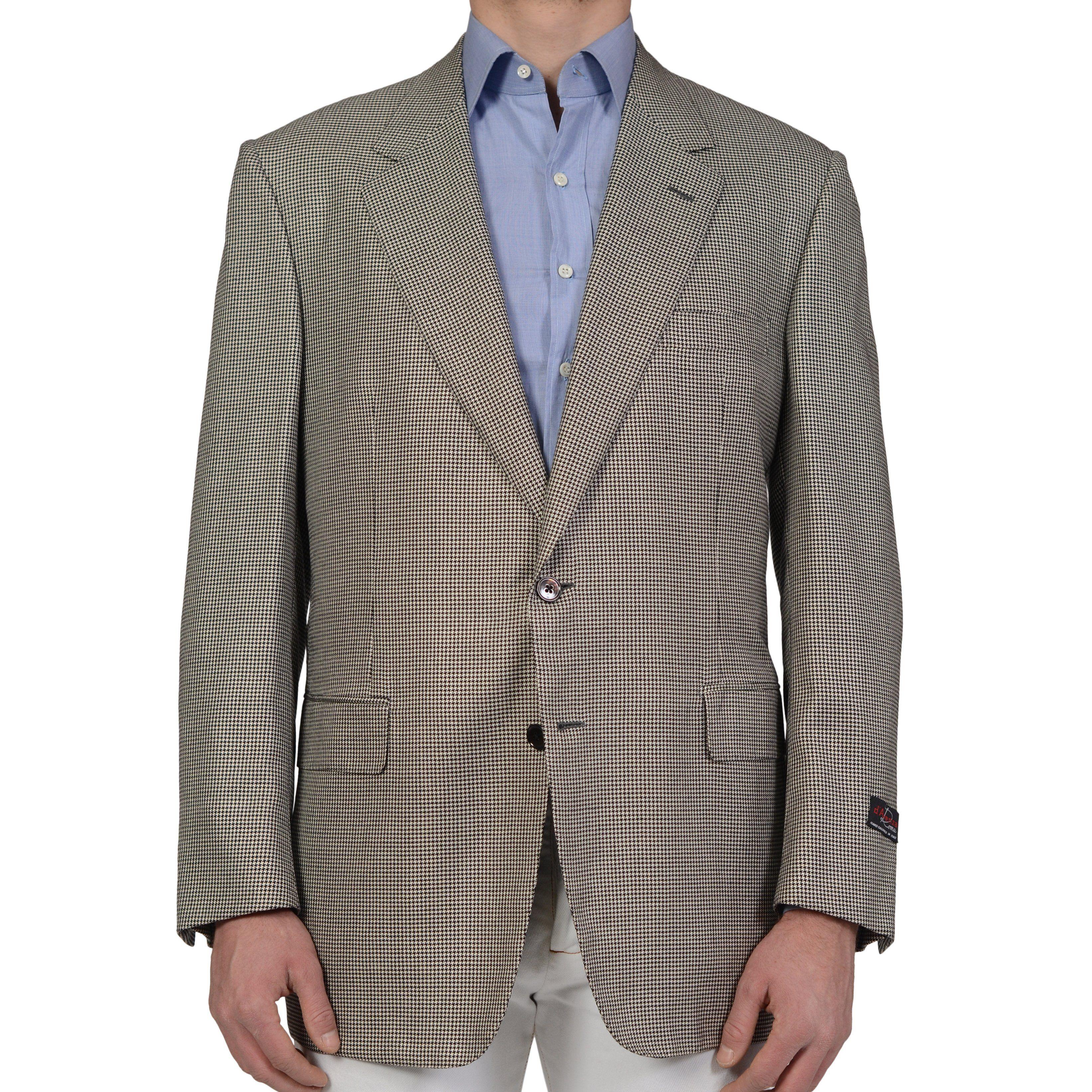 D'AVENZA Handmade Gray Houndstooth Wool Silk Cashmere Jacket EU 56 NEW US 46