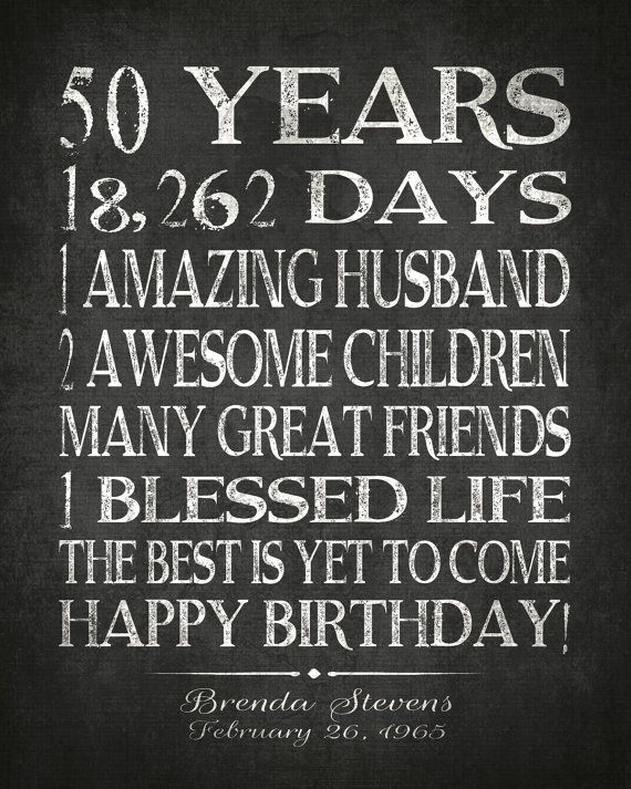 50th BIRTHDAY Sign PRINTABLE Party Gift Personalized 50