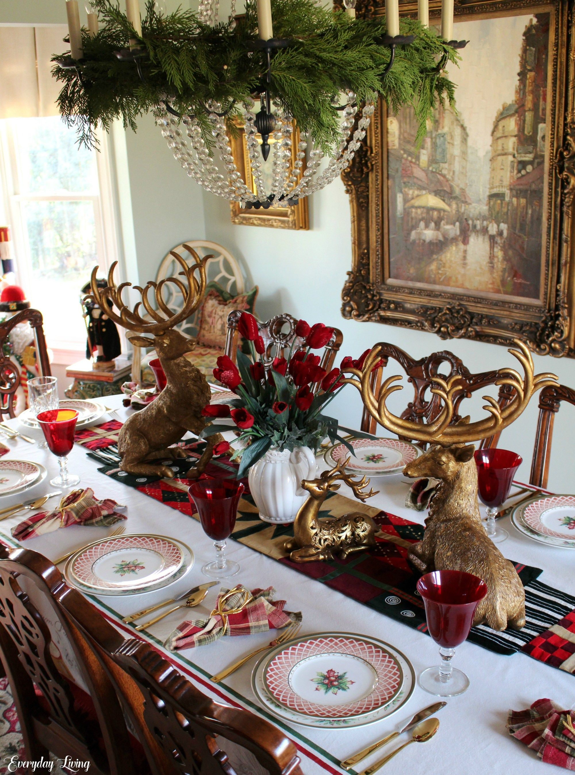 Tablescape Tuesday Golden Reindeer Holiday Table Decorations Christmas Christmas Table Settings Holiday Table Decorations