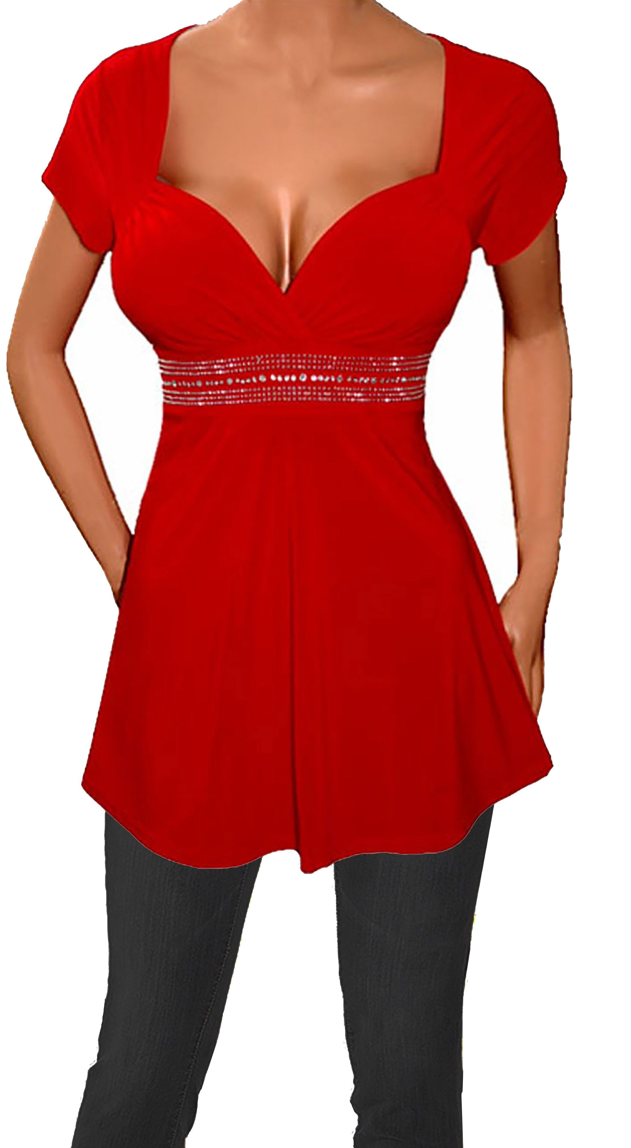 4729383568dc44 Funfash Plus Size Top Red Empire Waist Women s Plus Size Shirt Blouse  Clothing