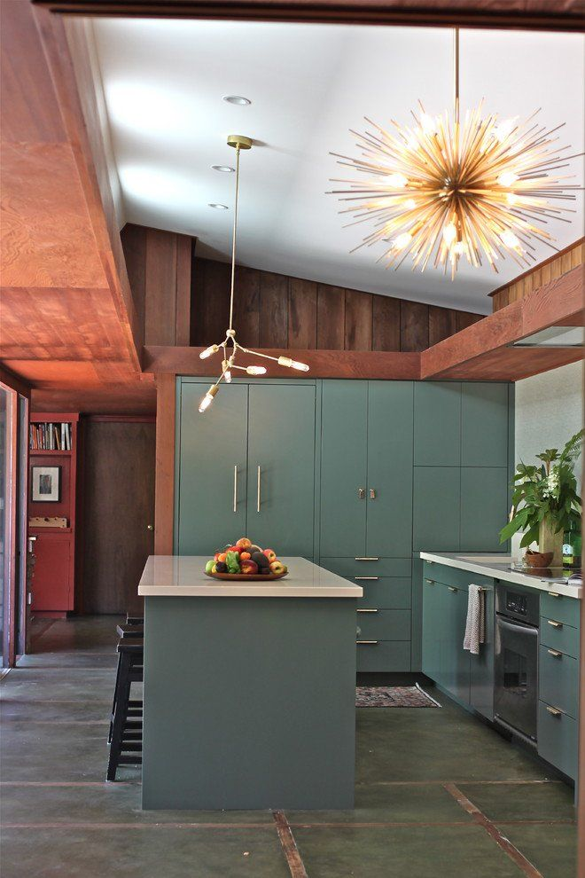 breathtaking mid century modern kitchen design. MY NOTES  similar cabinet layout and seeing a color other than wood Fashionable kitchen in midcentury modern style with amazing sputnik chandelier 48 Trendy Midcentury Modern Interior Designs Kitchen design Mid
