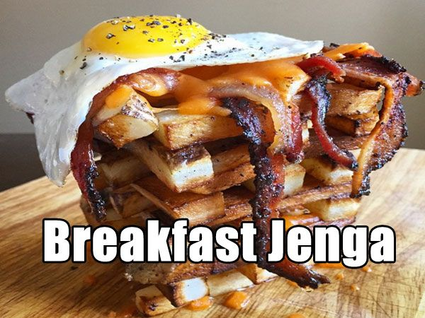 Breakfast Jenga Food
