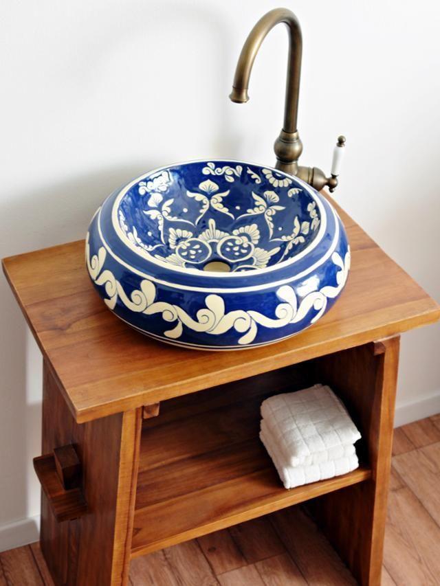 Design #Waschbecken aus Mexiko von Mexambiente #mediterran ... | {Doppelwaschtisch rustikal 84}