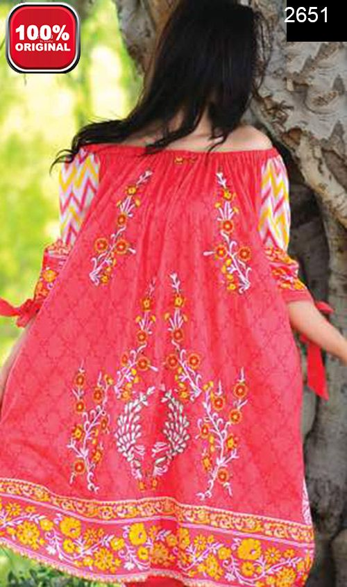 Wyrm 2651 Front Embroidery Designer 3pc Lawn Suit With Lawn